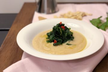 Mashed dried fava beans and spinach