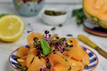 Raw melon savory carpaccio