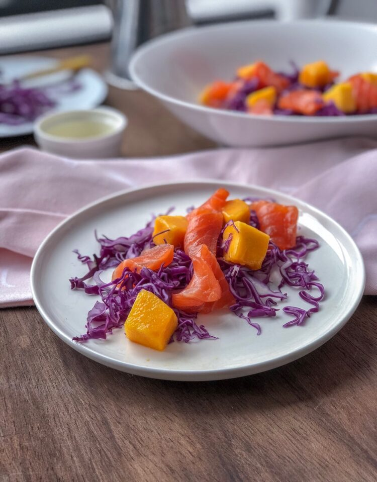 Healthy summer meals: Salmon cabbage and mango salad