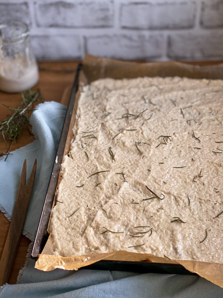 Gluten free discard crackers dough on baking tray