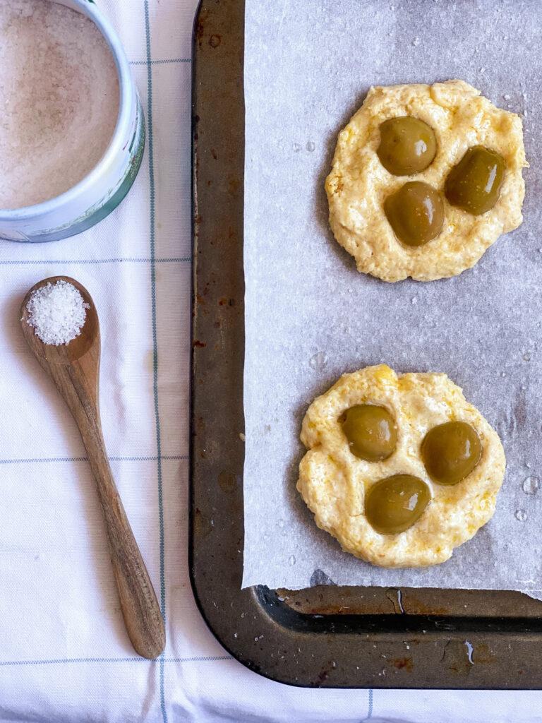 Gluten free sourdough focaccia dough on the baking tray