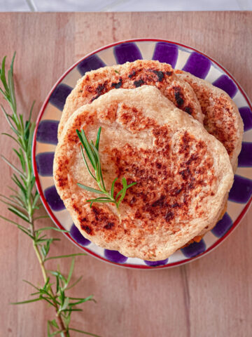 Gluten free sourdough discard naan bread on a plate