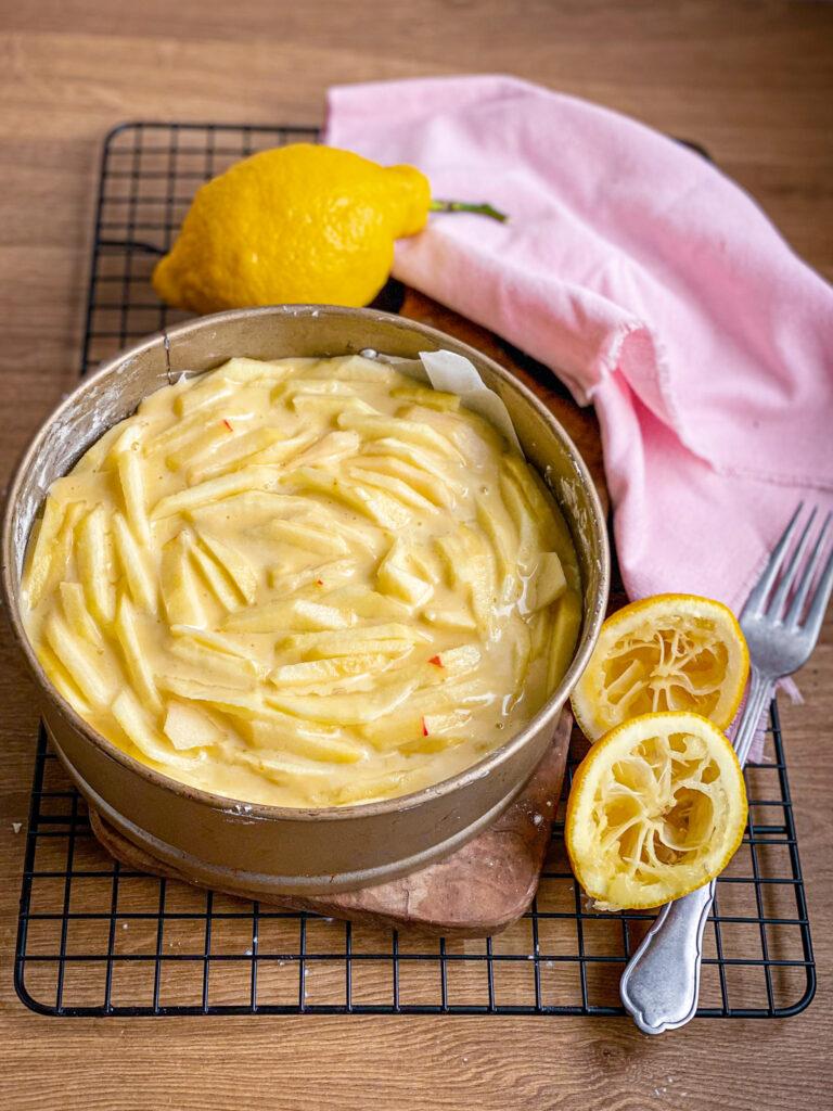 Gluten free apple sponge cake before baking